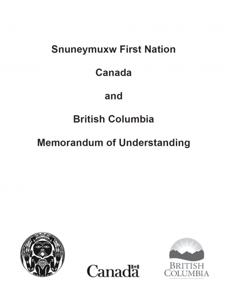 Cover page of Snuneymuxw-Canada-British Columbia Tripartite MOU with logos of each signatory