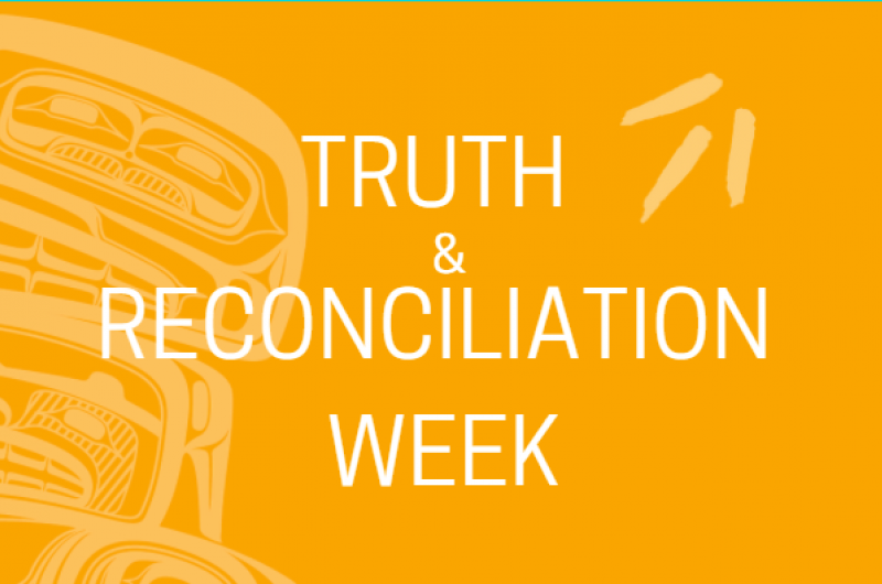Orange square with BCTC logo and Indigenous art and the words Truth and Reconciliation Week
